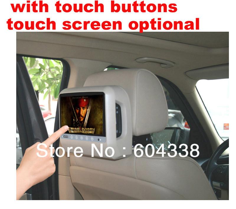 headrest player,9 inch 800*480,touch buttons,touch screen optional,SD+USB+DVD+GAMES+Dual IR+ FM transmitter+MP3/MP4/MP5+DIVX(China (Mainland))