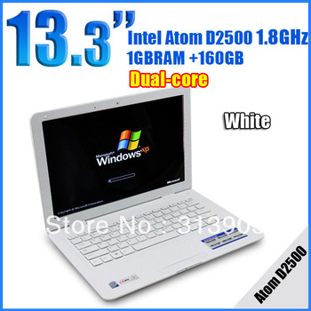 DHL EMS Freeshipping 13.3inch mini laptop computer inter Atom Dual core D2500 1.8G Memory 1GB HDD 160G netbook umpc notebook