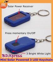 Free Shipping Keychain Mini 3 LED Flashlight Solar Powered Torch 10 PCS/LOT