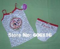 Wholesale(8sets/lot) Children / kids / baby girls princess cotton clothing set / underwear set/ with vest and brief-YL-0104