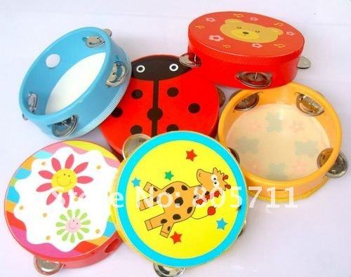 Wholesale Tambourine Rattles Musical Instruments Small Drum Caroon Color Pattern Baby Toys Learning Education Toy Free Ship(China (Mainland))