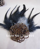 new arrival beaded flower with feather brooch,flower hair accessory,flower necklace free shipping,24pcs/lot