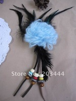 new arrival woolen yarn  flower with feather brooch,flower hair accessory
