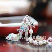24 pcs/Lot, Free Shipping, Wholesale,  2012 Fashion Mobile Phone Chain, Key Chain, High-Heeled Shoes Pearl pendant