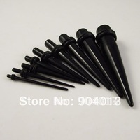 180ocs/lot Wholesal Black Acrylic Ear Piercing Tapers Ear stud Ear Expander  Free Shipping  Flesh Tunnel Mixed sizes