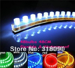 wholesale / 20pcs Waterproof flexible Car LED Strip PVC lights 48cm Great Wall LED Strip(China (Mainland))