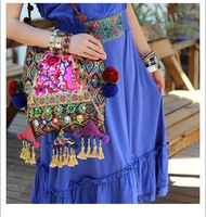 Classic Indian Style Embroidery Tassel Bag Fashion Ethnic Brocade Embroidered Shoulder Bag Ladies Handbag