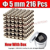 WholeSale  5mm 216 Silver Toy Neo Magnetic Ball Sphere Neodymium N35 Magnets Puzzle Cube New With Box Craft Model NdFeB