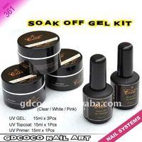 361#Soak off UV gel kit/nail art Builder kit/uv topcoat/uv primer  kit 5 sets