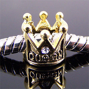 Minimum order $10 Free Shipping 1pc Jewelry 925 Silver Bead Charm European Golden Queen Crown Bead Fit BIAGI Bracelet H572(China (Mainland))