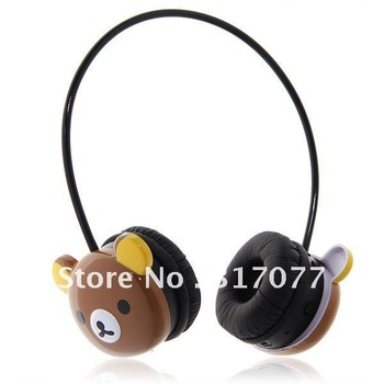 Cartoon Wireless SD/ MMC Card Headphones/ Earphones/ Headset -Brown