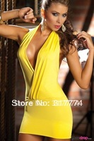 Free Shipping Halter Babydoll Sexy Lingerie Dress with G-string Intimate Deep-V Nightwear Lady Sexy Clubwear Yellow color N019