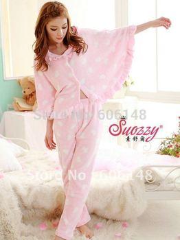 Free shipping!2sets/lot Winter&Autumn Heart-shape pajamas, Coral bats coat+pants suit,warm sleep sets,living clothes, PJ010