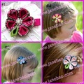 free shipping mix color pink 500pcs kanzashi flower hair clips badge reel hair clips holder