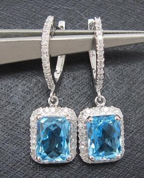 Customized Design SOLID 14K WHITE GOLD NATURAL TOPAZ & DIAMOND EARRINGS