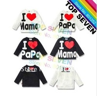 2014 New Arrive baby I love Mama I love Papa T-shirt toddlers long sleeve white/blcak tops kids cotton casual clothing