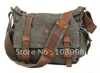 Canvas Shoulders messenger bag khaki black army green 3 color school travel men women book bag