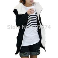 2015 NEW Winter Women's Plus Large Long Sleeve Hoodie Cotton Coat Warm Fleece Zipper Jacket M,L,XL (Black,Dark Gray) #3003