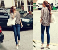 New Korea Fashion Style Ladies' Leopard Print V-Neck Turn-up Cuff Thin Long Sleeve Chiffon Shirt
