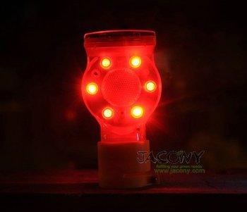 Solar Powered Traffic Warning Light+6 Flashing LED bulbs+2pcs/lot