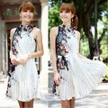Free shipping, wholesale 2pcs/lot vintage evening halter pleated women Dress white, floral printed Dress for women MY8332LS