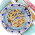 Sky Blue Elegant Diamonds Watch Women Lady Leather Gold Skeleton Color Time IW1519