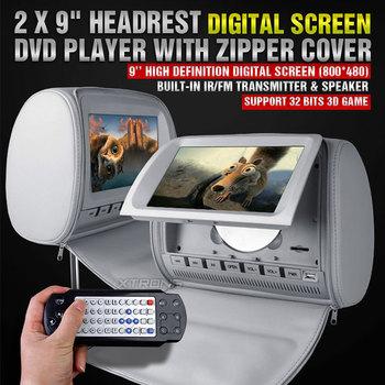 "(pair) 2x9"" Headrest Monitor DVD Player with Digital Screen  IR/ FM Transmitter and Zipper Cover"