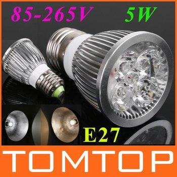85~265V 5W GU10/E27 LED lamp light Spotlight White/Warm whiteLed Lighting Free Shipping