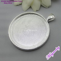 Free Shipping DIY Jewelry Accessories,100pcs/lot,38mm Shiny Silver Blank Pendant Tray, Round Pendant Bases, Pendant Settings