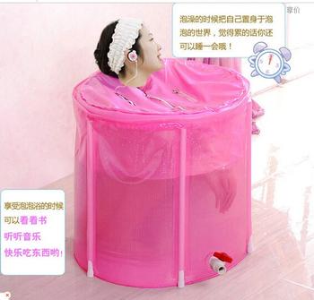 Wholesale&Retail Folding Inflatable Bathtub Portable bath tub Spa Tub 70*70 with cushion + Cover Express Fast Shipping