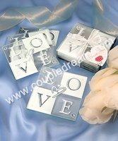 Free Shipping + Wholesale Promotion Price, 100pcs/lot  LOVE Glass Coaster Set