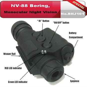 No.BHJ101, Monocular 5x50 Infrared Night Vision Telescope, Generation 1+, for Night Hunting &Field Game+With Rifle Mount Adaptor