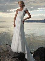 Free shipping one shoulder straight Empire wedding dress handiwork
