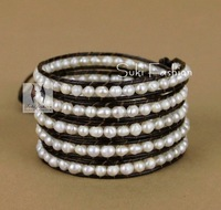 Hot Sale Fashion Wrap Bracelet Irregular Pearl Leather Wrap Bracelet Natural Beads Bracelets Pearl Jewelry