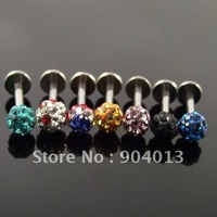 24pcs free shipping Fashion Lip Ring Labret Ring body Jewelry Full Rhinestone Labret Piercing Jewelry FULL Crystal Gems