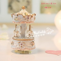 FREE shipping HOT sale Exquisite mini Carousel music box, whirligig, merry-go-round, wonderful gift