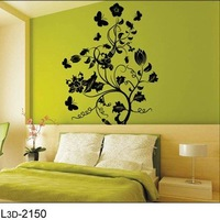 Black Flower Tree DIY 3D Wall Art Removable Decal Stickers Repetitive Use/Wall Sticker Factory