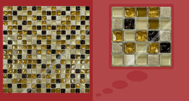 [7Colorful] Wholesale Crystal+Stone Mosaic Tile Colorful Wall Kitchen Backsplash wall sink bathroom spa QI001(China (Mainland))