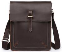 Retro Vintage brown Crazy Horse leather Men Messenger Bags Men genuine leather shoulder bags Fashion New 2014 free shipping  M13