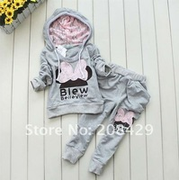 Free Shipping 2014 New 3Color Butterfly Clothing, Girls Wear kids hoodies Fashion Suits Korea Fashion Clothing Sets Girls Suit