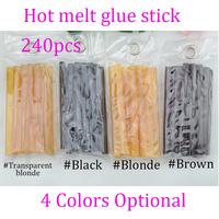 Free shipping  240pcs 0.7*10 cm Keratin Glue Sticks for hair extensions, Fusion Glue, mix brown,blonde,black,blonde transparent