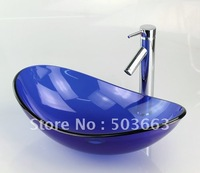 Blue Victory Vessel Washbasin Tempered Glass Sink With Brass Faucet  CM387