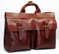 "FREE SHIP Fashion High Class Men Leather briefcase Brown Men Genuine Leather Briefcase Shoulder Bag Messenger Bag 14""Laptop Bag"