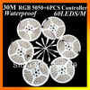30M led strip rgb 5050 Waterproof 300 60leds/M + 6PCS mini RGB Controller wholesale