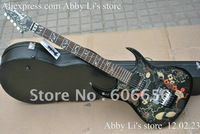 Black flower 7v KJEM77V floyd wammy bar black electric guitar Music instrument free shipping