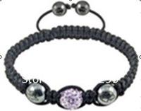 10 pcs kids Tresor Paris Clay Beaded Shamballa Bracelets Micro Pave CZ Disco Crystals Ball Bead EG-SCB101