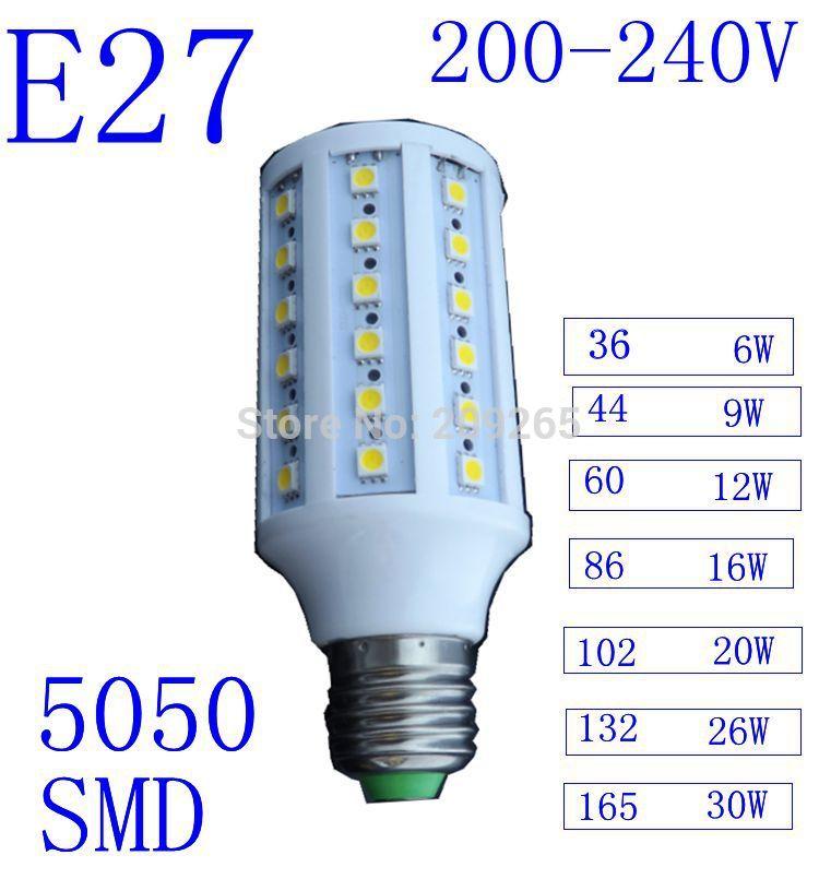 5pcs/lot Led lights White/Warm White E27 220V 36/44/86/102/132/165 LED 5050 SMD 6w/9w/16w/20w/26w/30w  lampada led lamps