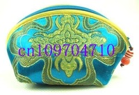 Free shipping! New wholesale 20 PCS Silk Coin Purse Case Makeup Bag Wallet With Zip silk bag