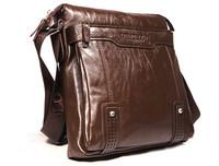 [ Brown& Black ] Genuine leather + PU men soft  leisure shoulder bag,leather men messenger bags + Free Shipping