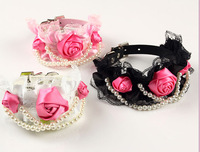 3 flowers lace dog collar luxury pearls cat pets collar pu leather black pink white S M